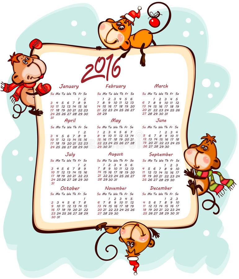 Nowego Roku kalendarz 2016 ilustracji