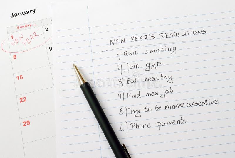 Nowego Roku kalendarz postanowienia i fotografia royalty free
