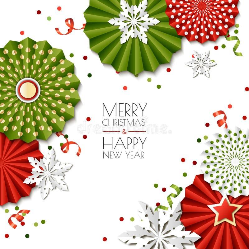 nowego roku karciani boże narodzenia Wektoru papieru gwiazdy i płatki śniegu w zieleni, czerwoni kolory Projekt dla sztandaru, pl ilustracja wektor