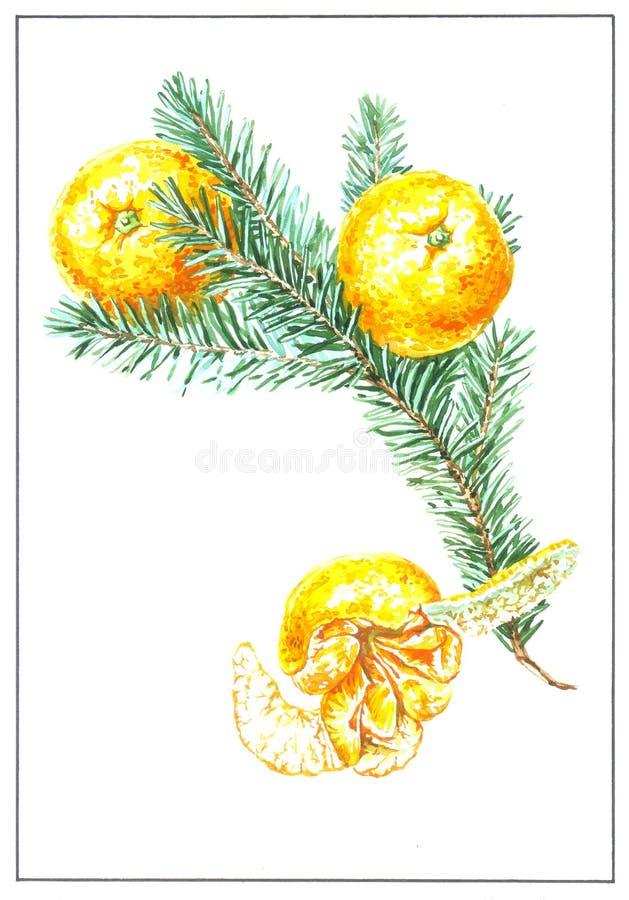 Nowego roku kartka z pozdrowieniami akwarela royalty ilustracja