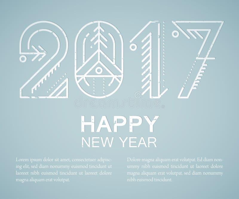 Nowego Roku kartka z pozdrowieniami szablon z dekorującym 2017 znakiem royalty ilustracja
