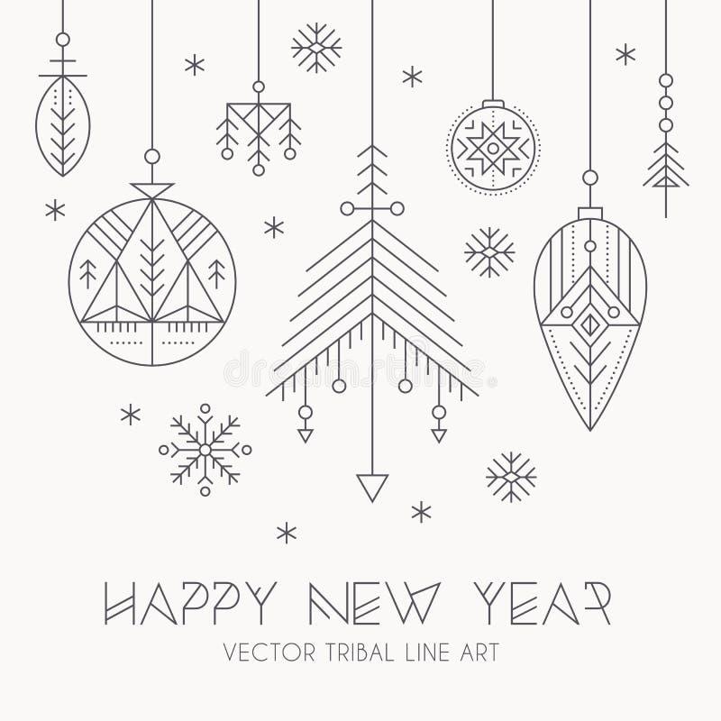 Nowego Roku kartka z pozdrowieniami szablon z wiszącymi dekoracjami i płatkami śniegu ilustracja wektor