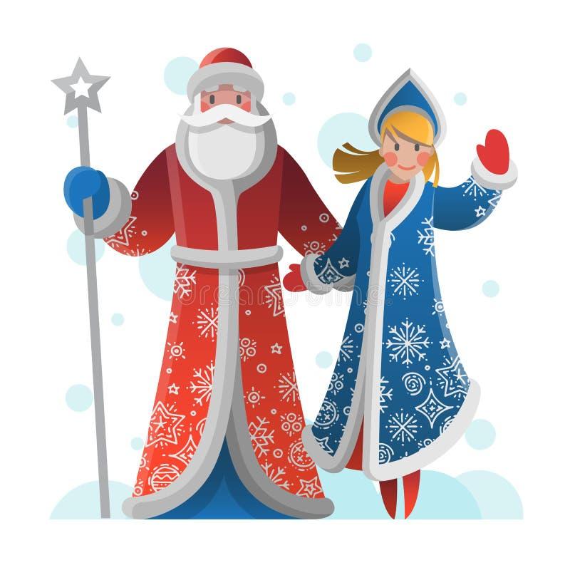 Nowego Roku kartka z pozdrowieniami z ojca mrozem i śnieg dziewczyną ilustracja wektor