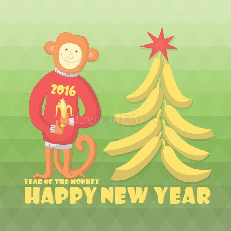 nowego roku karty Szczęśliwy małpi Chiński zodiak 2016 ilustracja wektor