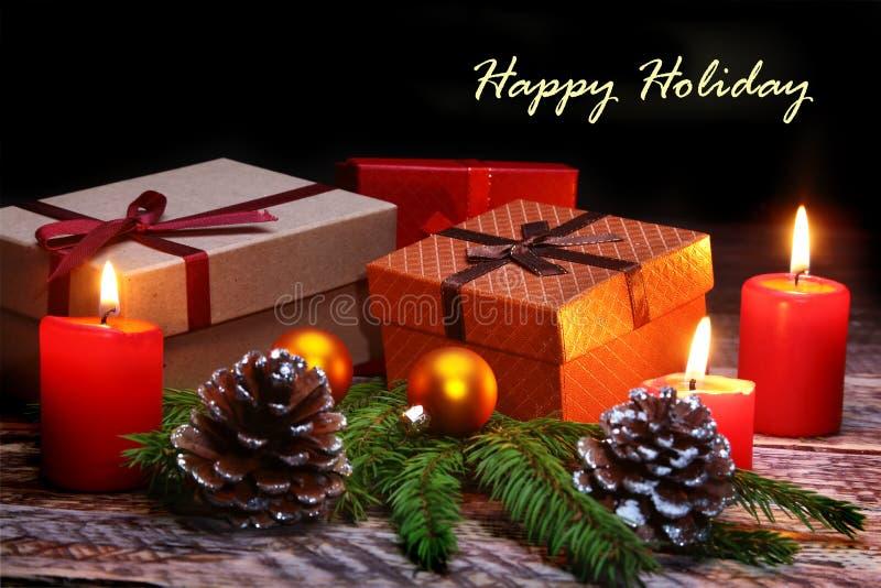 Nowego Roku lub bożych narodzeń dekoracje z prezenta, 2007 pozdrowienia karty szczęśliwych nowego roku wesołych świąt zdjęcie royalty free