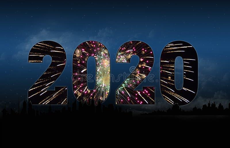 Nowego Roku miasta linia horyzontu 2020 sylwetka zdjęcia stock
