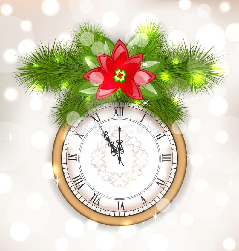 Nowego Roku Midnight tło z zegarem ilustracja wektor