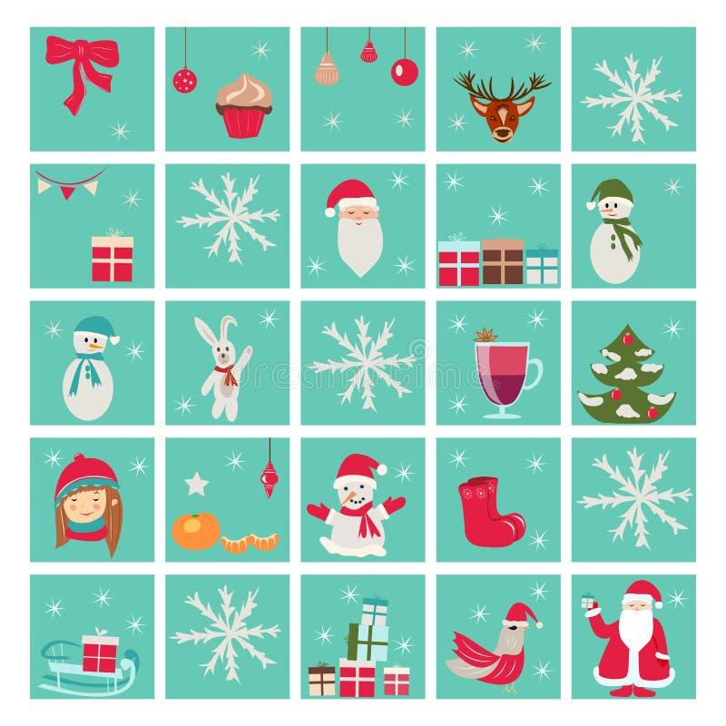 Nowego roku nastania kalendarz, Święty Mikołaj royalty ilustracja
