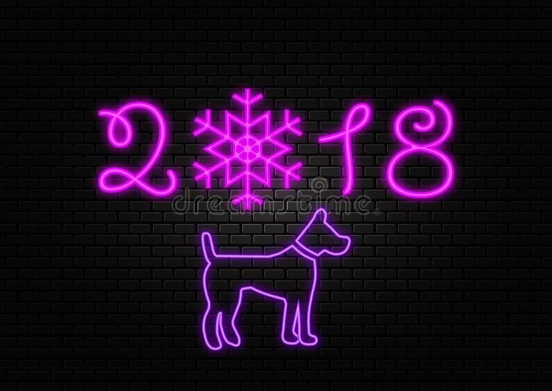Nowego roku 2018 neonowy znak ilustracja wektor