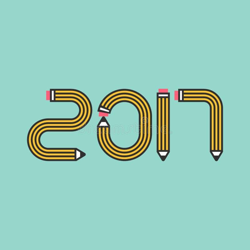 Nowego Roku ołówka 2017 liczba royalty ilustracja