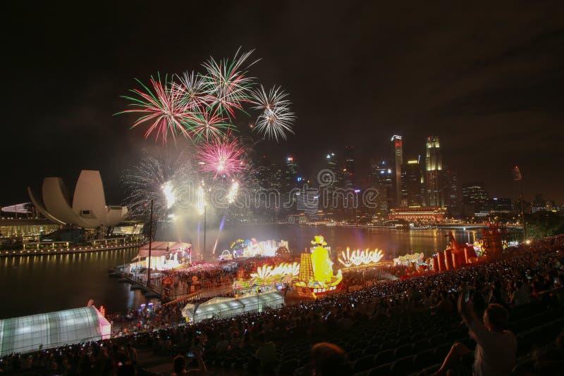 Nowego roku ogienia praca przy marina zatoki przodem obraz royalty free