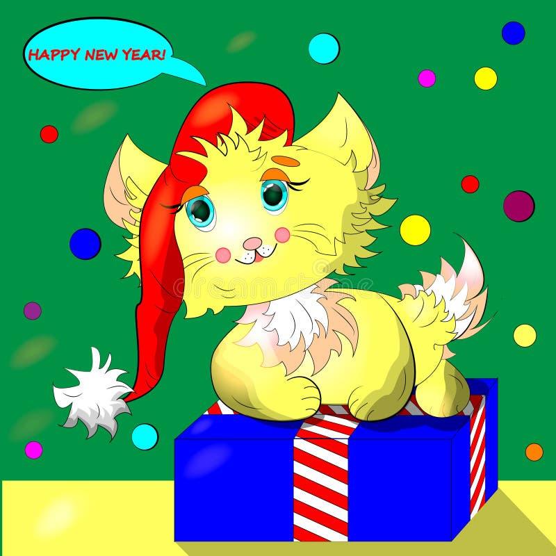 Nowego roku plakat, pocztówka, sztandar z kreskówka kotem z boże narodzenia nakrywa obsiadanie na prezenta pudełku z pasiastymi f ilustracji