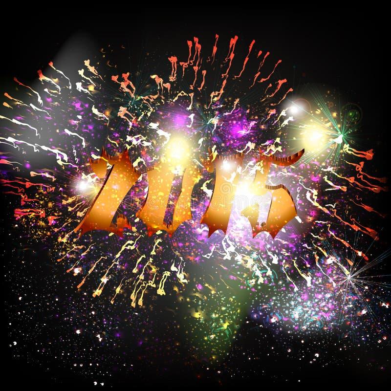 Nowego Roku plakat z liczbą 2015 i fajerwerkami ilustracji