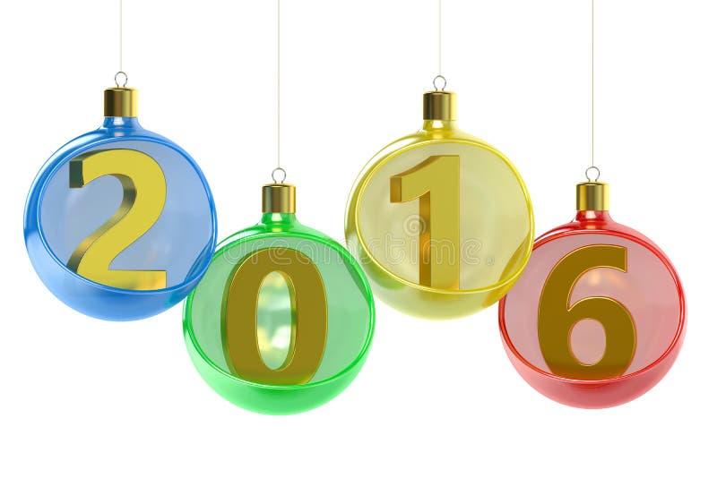 Nowego Roku 2016 pojęcie z boże narodzenie piłkami ilustracji
