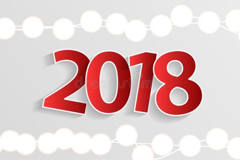 Nowego Roku 2018 pojęcie z papierem cuted białe liczby na realistycznych bożonarodzeniowe światła dekoracjach na białym tle royalty ilustracja