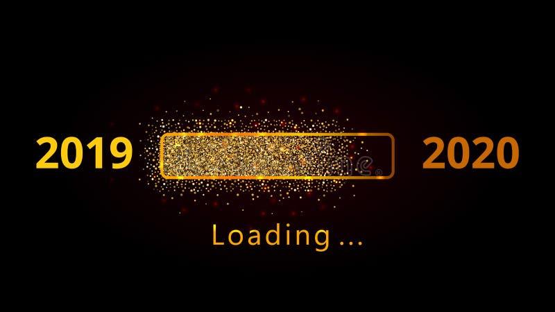 Nowego roku 2020 postępu ładowniczy bar z złotymi confetti odizolowywającymi na czarnym tle Wakacyjny sztandar, plakat, kartka z  ilustracji