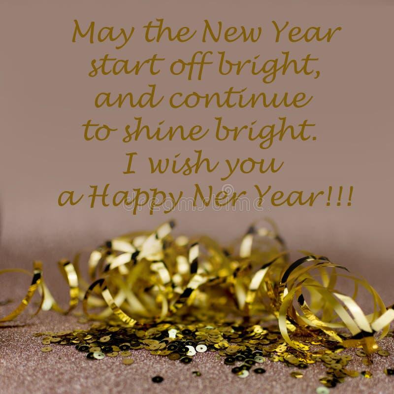 Nowego roku 2019 powitań karta Błyskotliwości i bokeh skutki na tle Życzę ci szczęśliwego nowego roku zdjęcie stock