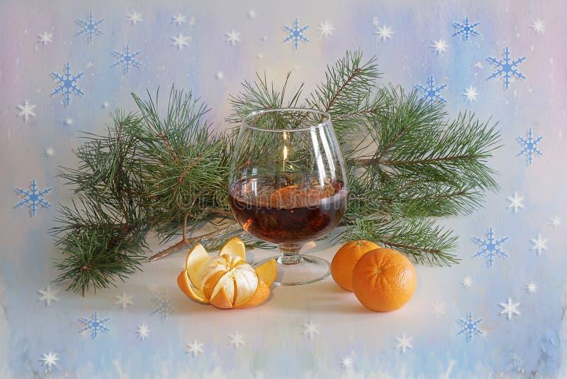 Nowego roku powitanie z szampanem i tangerines fotografia stock