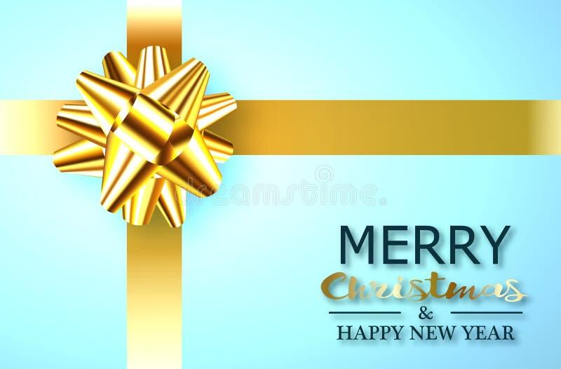 Nowego Roku prezent w błękitnym pudełku z złocistym faborkiem i łęk w postaci kwiatu dla dekoracji, ilustracja wektor