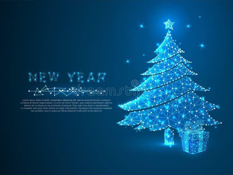 Nowego roku prezenta i drzewa pudełka złączona sieć Wakacyjny wireframe pojęcie Poli- Wektorowy poligonalny royalty ilustracja