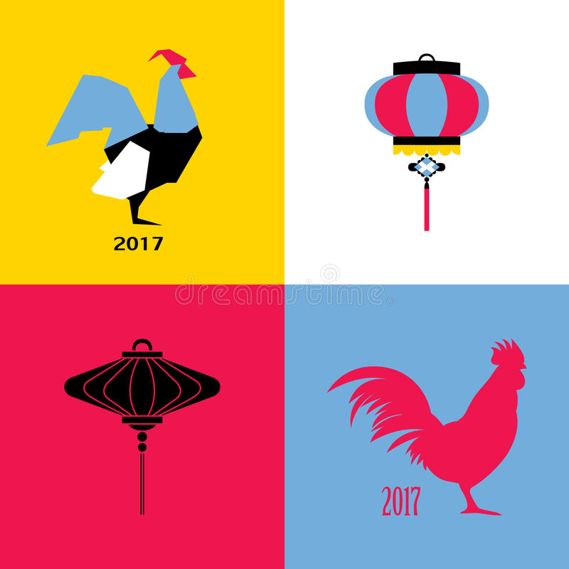Nowego Roku projekt z sylwetką koguty i chiński lampion royalty ilustracja