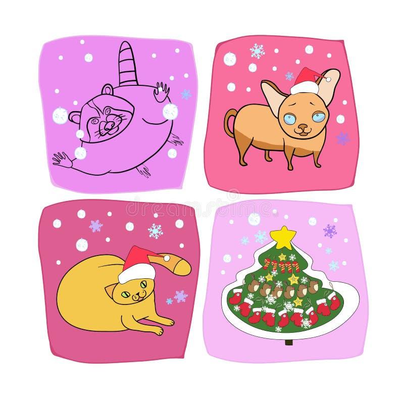 Nowego Roku projekt, zwierzę domowe royalty ilustracja
