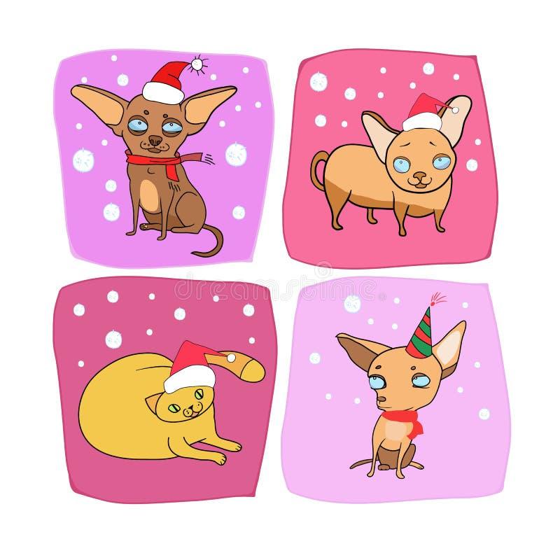 Nowego Roku projekt, zwierzę domowe ilustracji