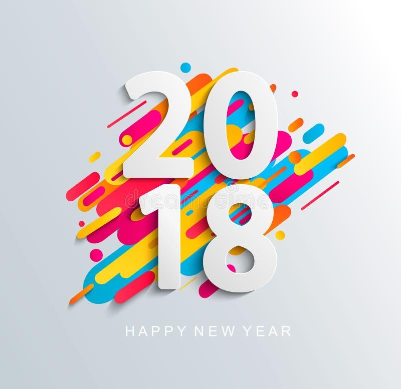 Nowego Roku 2018 projekta karta na nowożytnym tle ilustracja wektor