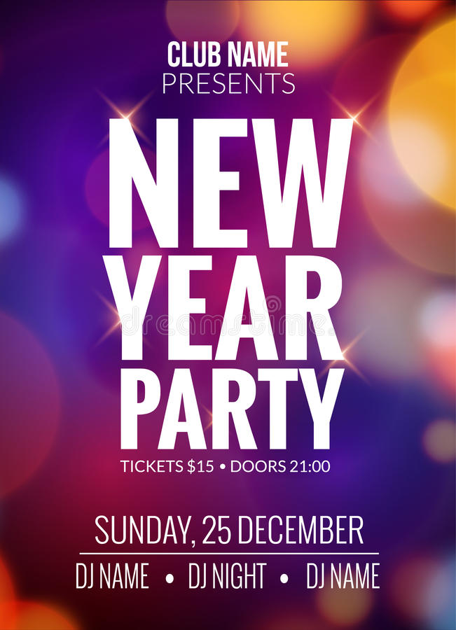 Nowego Roku przyjęcia projekta sztandar Wydarzenia świętowania ulotki szablonu bokeh światła Nowego roku świąteczny plakatowy zap ilustracja wektor