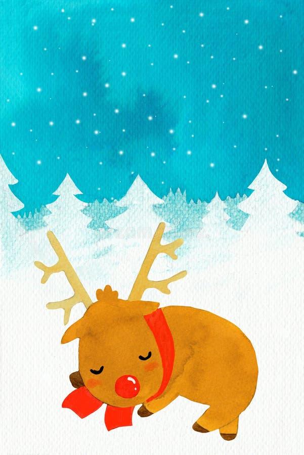 Nowego roku Rudolf jeleni dosypianie w śniegu ilustracji