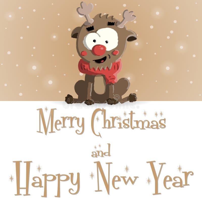 Nowego Roku Rumiany brown kartka z pozdrowieniami ilustracja wektor
