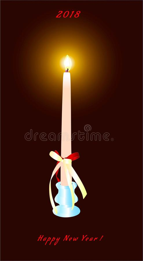 Nowego Roku ` s świeczka w candlestick w ciemnym pokoju royalty ilustracja