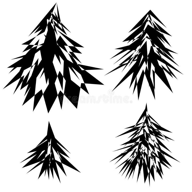 Nowego Roku ` s choinka w abstrakcjonistycznym stylu cztery grafika szablonie zdjęcia royalty free