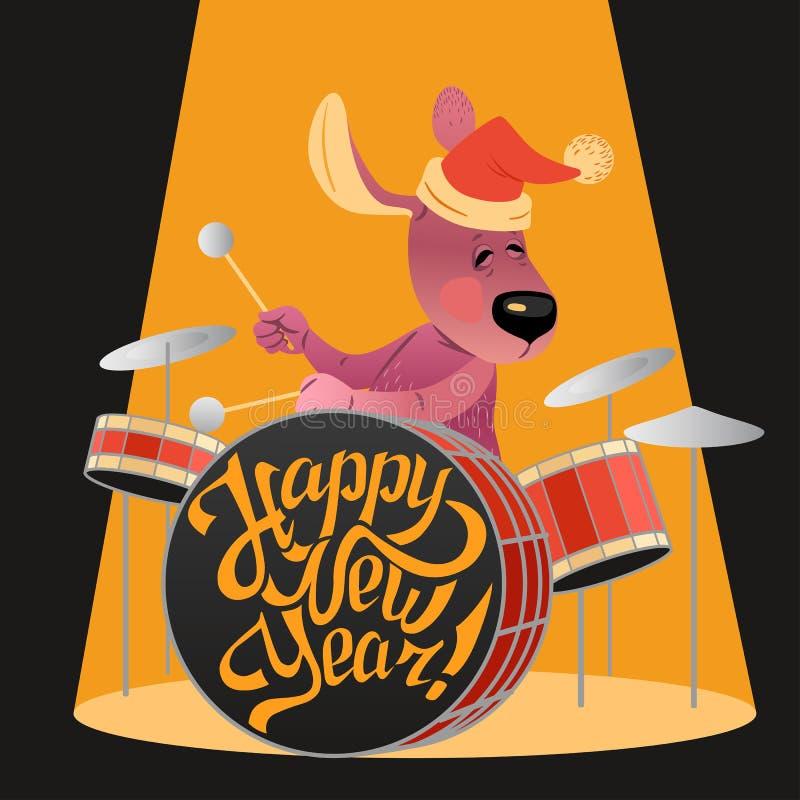 Nowego Roku ` s karta z śmiesznym psem bawić się na bębenach royalty ilustracja