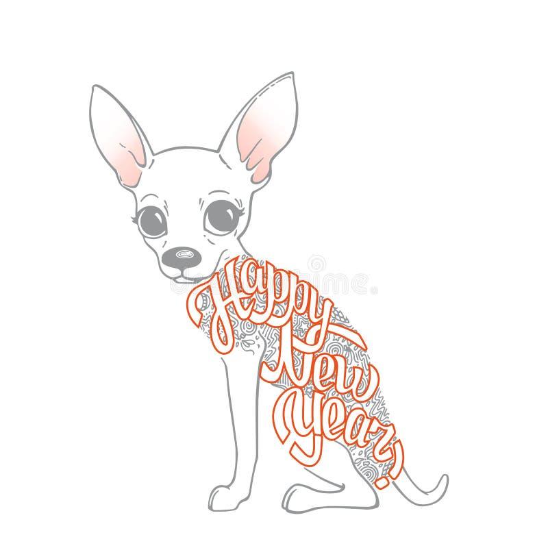Nowego Roku ` s karta z śmiesznym psem Chihuahua royalty ilustracja