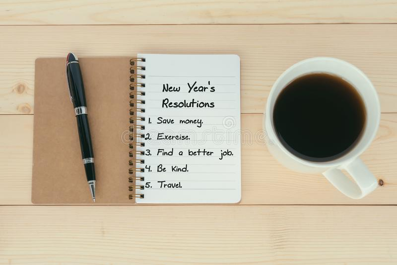 Nowego Roku ` s postanowień lista fotografia royalty free