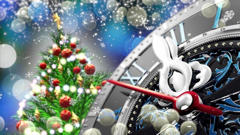 Nowego Roku ` s przy północą - stary zegar z gwiazda płatkami śniegu i wakacji światłami ilustracji