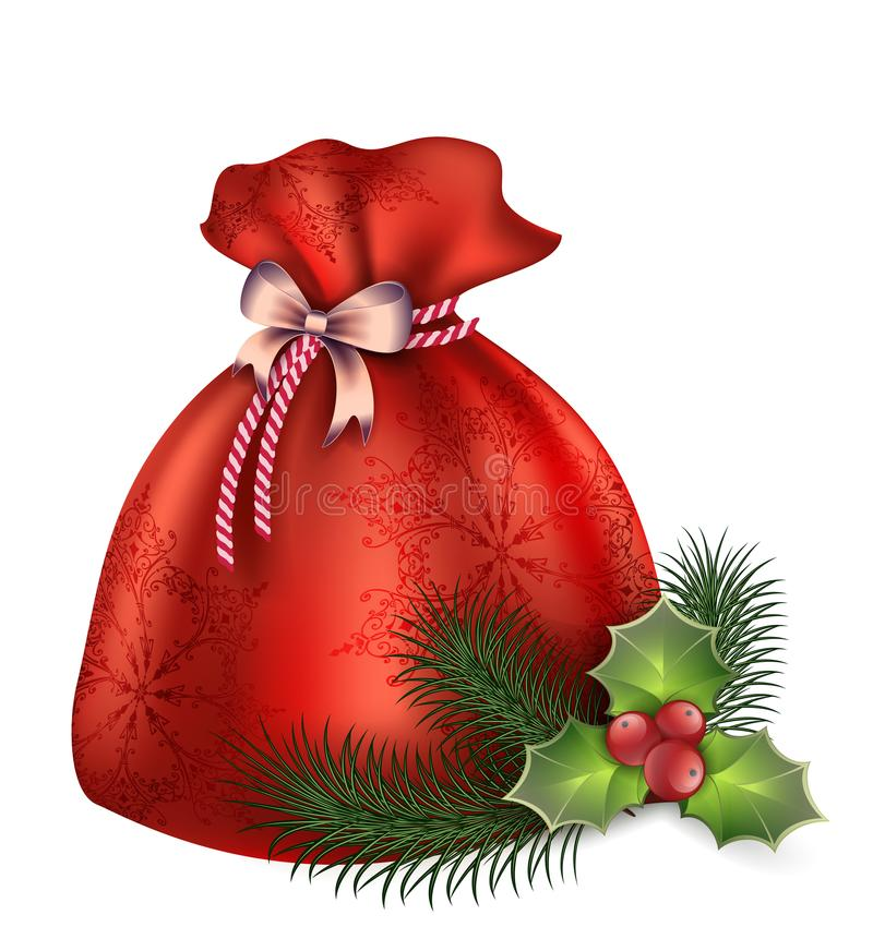 Nowego Roku ` s torba buty z prezentami, jedlinami, pociskami, jemiołą i cukierkami ilustracyjnymi, royalty ilustracja
