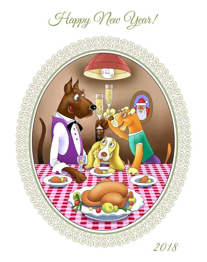 Nowego Roku ` s wigilii gość restauracji Psy siedzą przy świątecznym stołem ilustracja wektor
