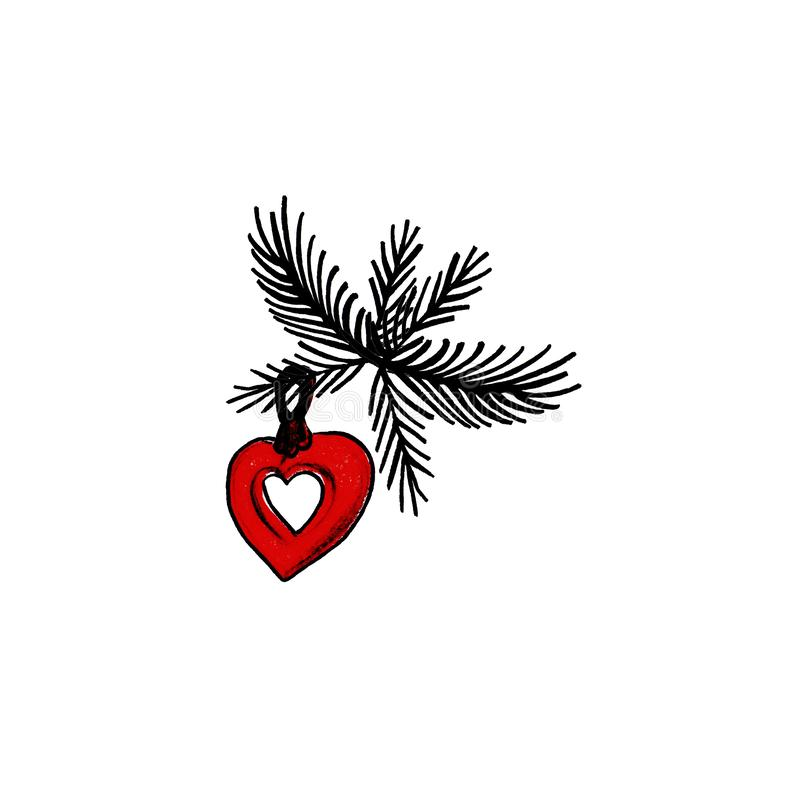 Nowego Roku serca ręka rysująca czerwona zabawka z gałąź na białym tle ilustracji