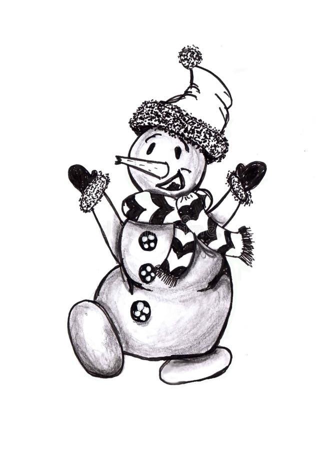 Nowego Roku skład w doodle stylu Doodles bożych narodzeń elementy Monochromatyczne rzeczy royalty ilustracja
