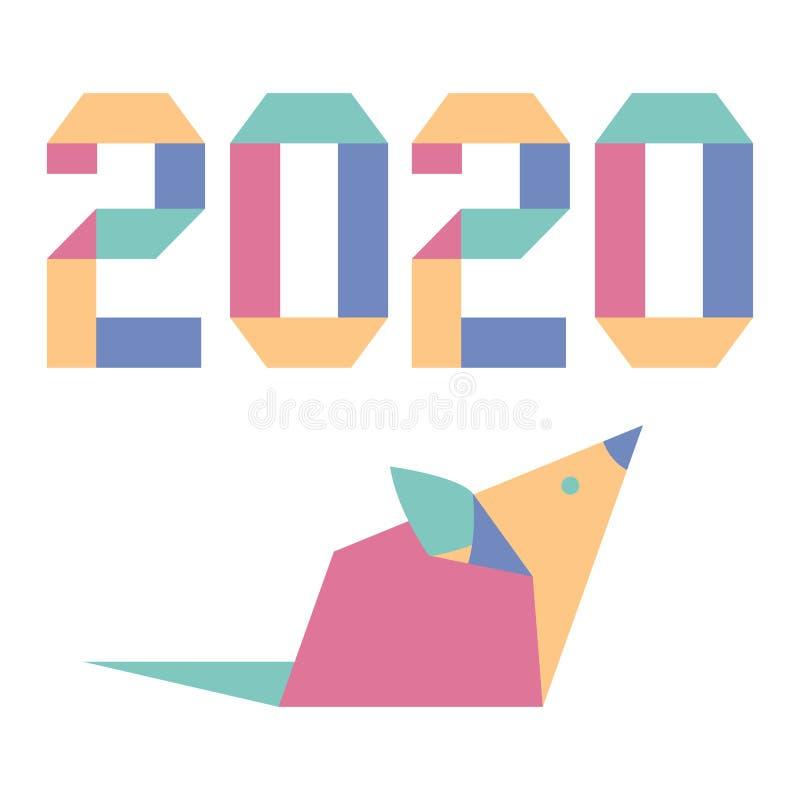 Nowego roku szczura symbolu chińczyka 2020 kalendarzowy origami ilustracja wektor