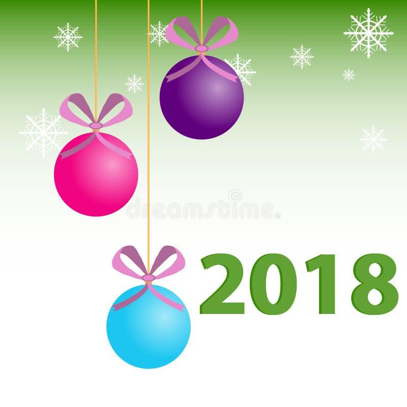 Nowego Roku tła bożych narodzeń piłki Gratulacje na nowym roku, kartka bożonarodzeniowa ilustracji