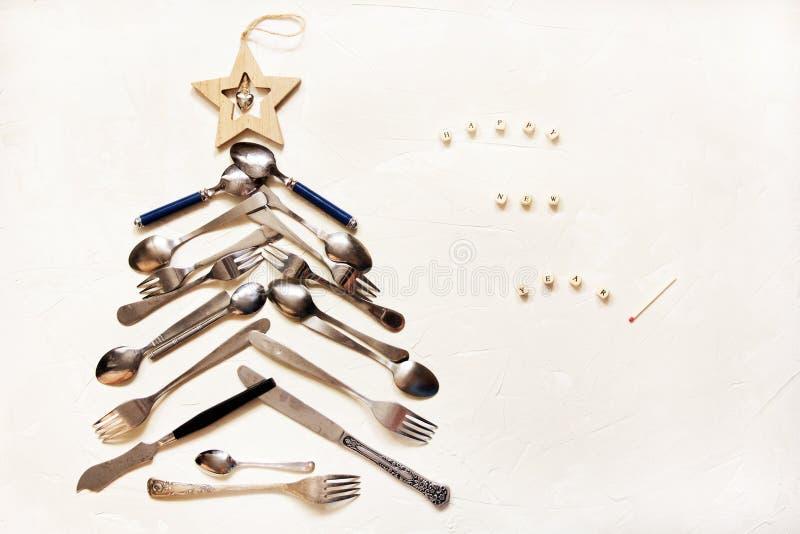 Nowego Roku tło z kuchennymi urządzeniami zdjęcia stock