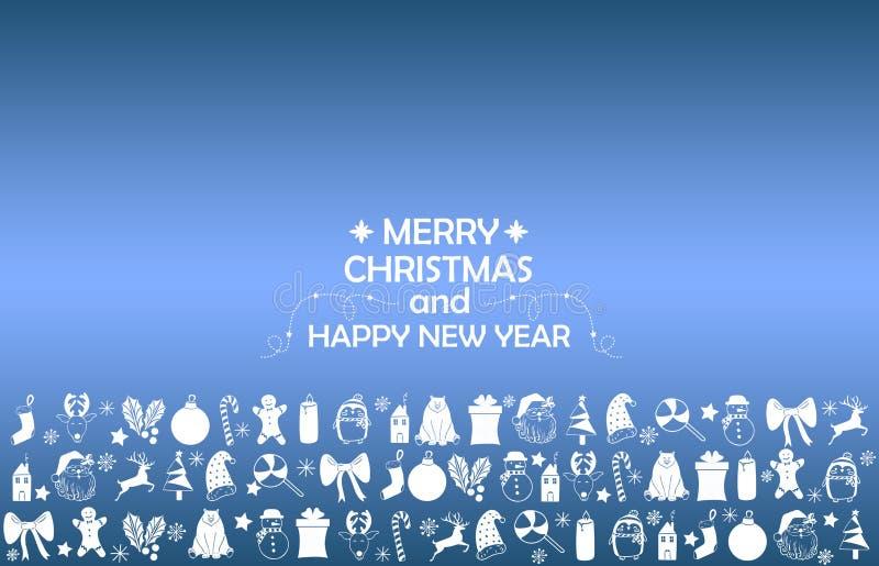 Nowego Roku 2019 tło z postaciami, Bożenarodzeniowe zabawki, cukierek, Santa, świeczka na błękitnym gradientowym tle Nowego Roku  ilustracja wektor