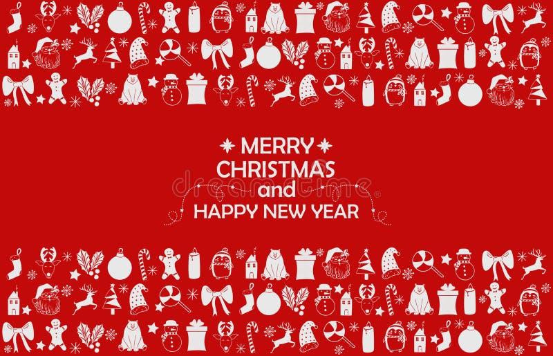 Nowego Roku 2019 tło z postaciami, Bożenarodzeniowe zabawki, cukierek, Santa, świeczka na czerwonym tle Nowego Roku 2019 skład Mi royalty ilustracja