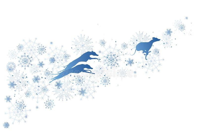 Nowego Roku tło z psami i płatkami śniegu royalty ilustracja