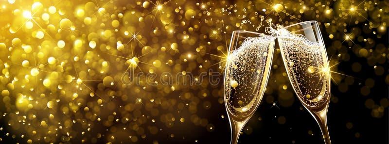 Nowego Roku tło z szampanem ilustracja wektor
