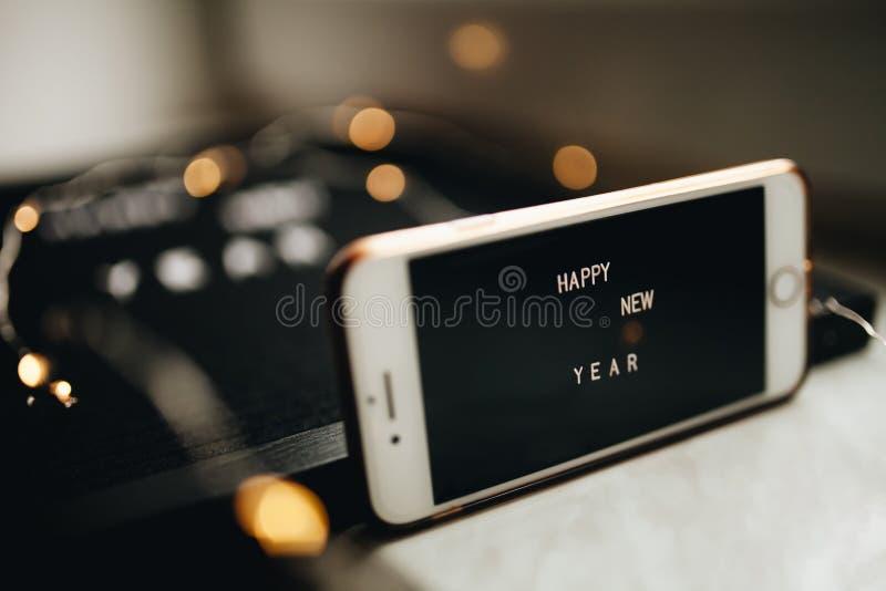 Nowego Roku telefonu komórkowego ekran obrazy royalty free
