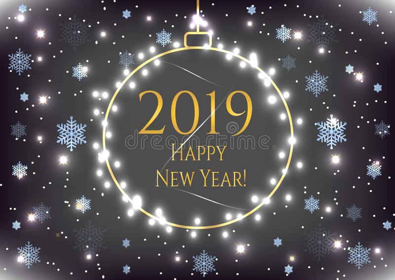 Nowego Roku wakacje 2019 karta z złocistą Bożenarodzeniową piłką, błękitni płatek śniegu Zimy świętowania sztandar, plakat z ramą ilustracji